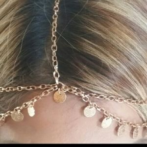 Gold Draped Charm Head Chain